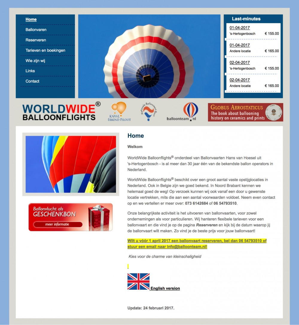 Website WorldWide Balloonflights