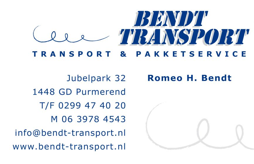 Bendt Transport visitekaartje
